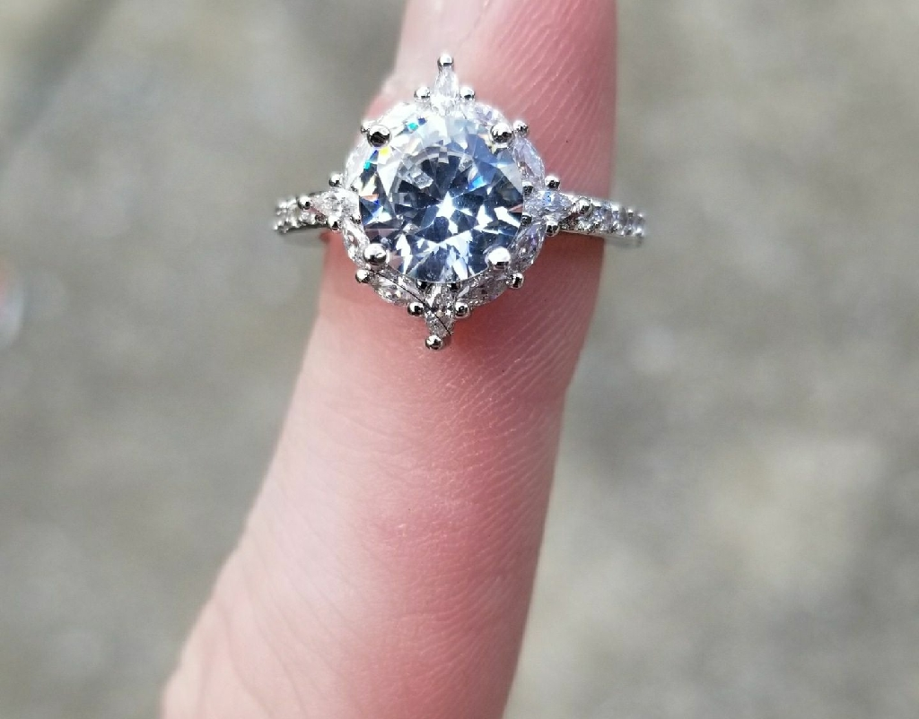 Synthetic diamond engagement ring