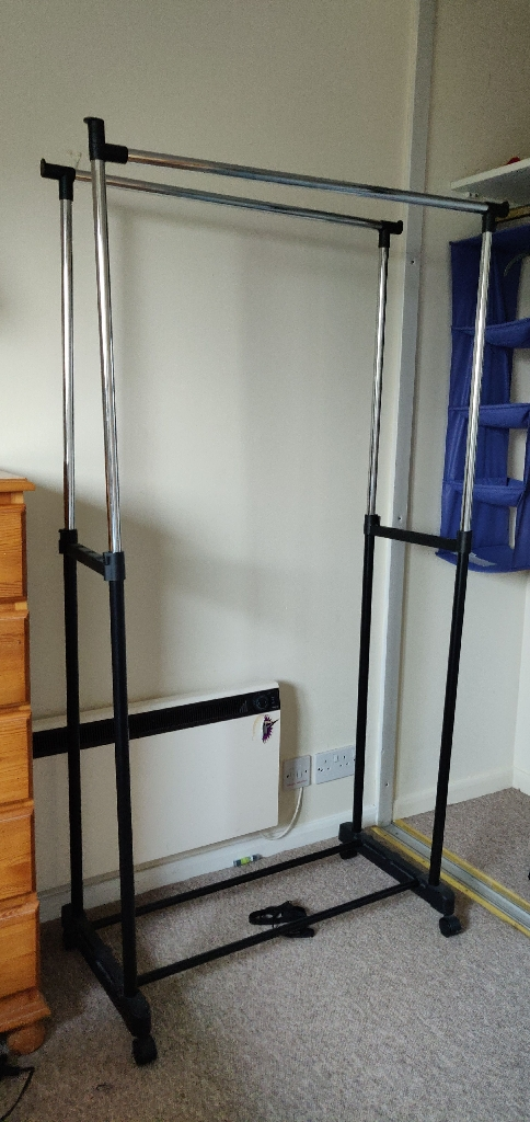 Portable clothes rack stand hanger rail with wheels adjustable height