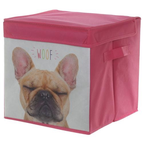 Foldable canvas storage box 'French bulldog'