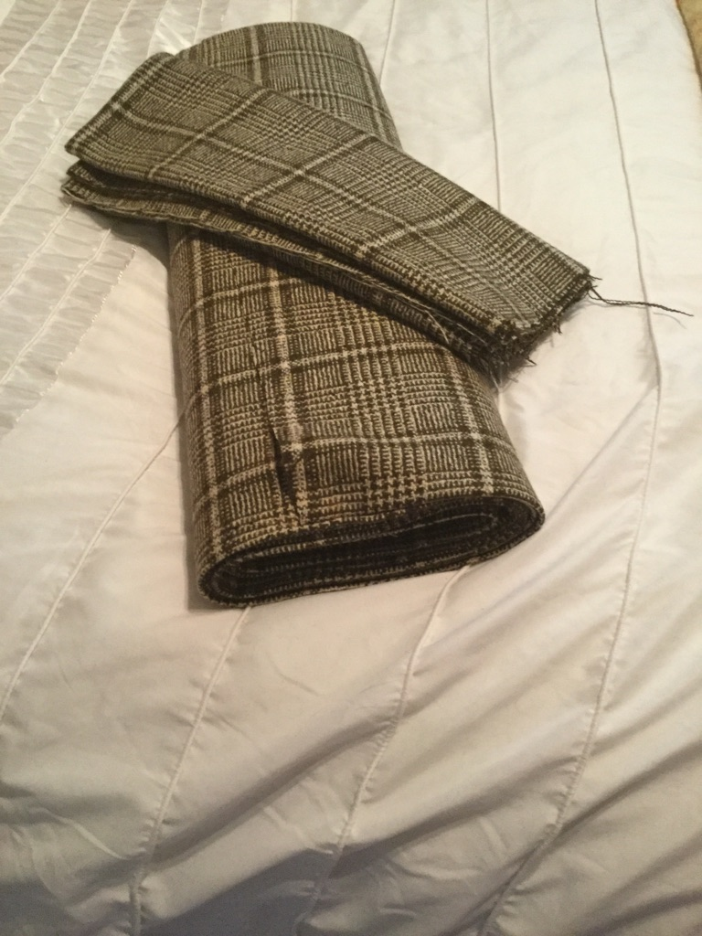 Brown check tweed fabric