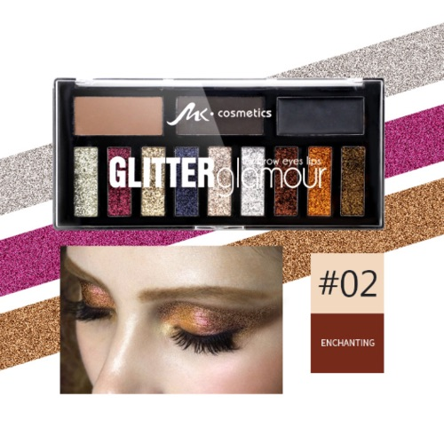 MK glitter glamour eyes, lips, brows & face palette 2