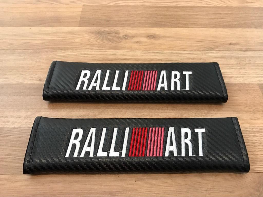 2X Seat Belt Pads Carbon Ralliart Ralli Art Subaru Race Supersport GT ST Turbo