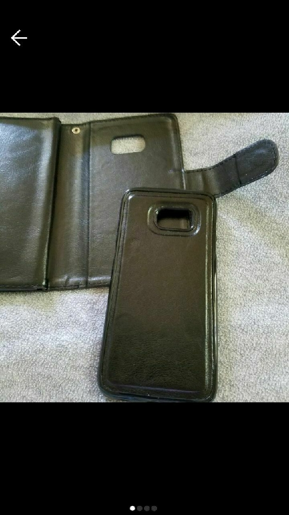 Black Samsung galaxy 7 edge phone case with removable hard case. Magnetic taking off and putting back on. 2 Piece. BRAND NEW. NEVER USED.