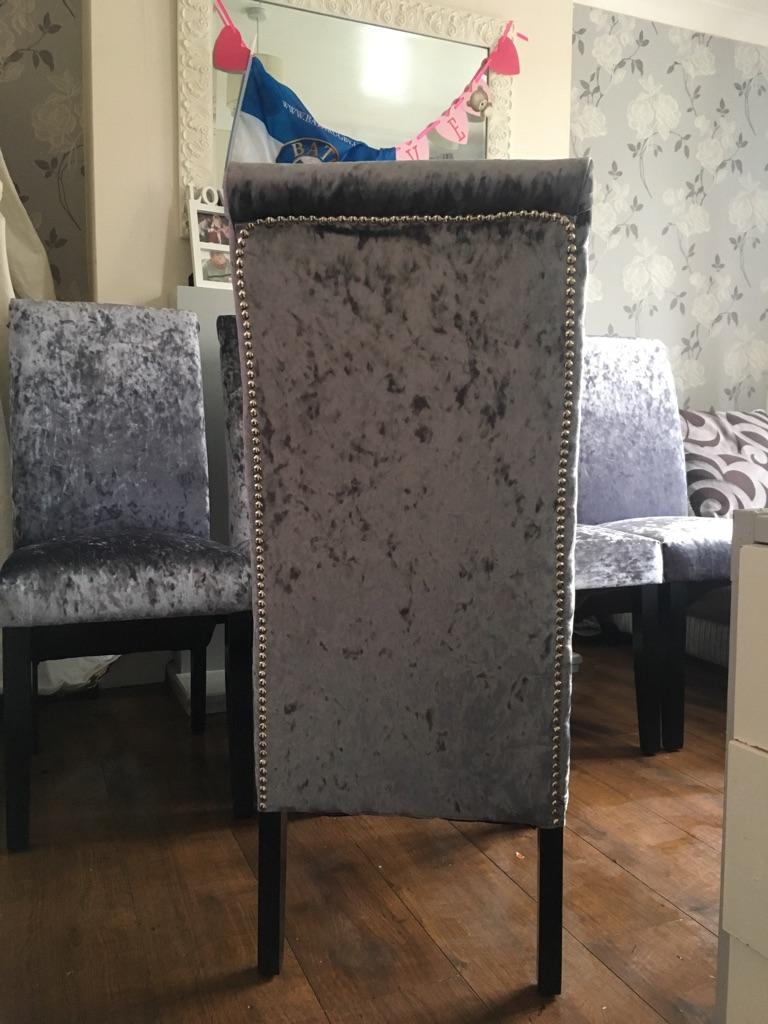 Set of six slate grey crushed velvet chairs