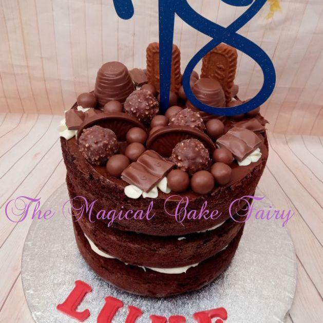 Chocolate cake with chocolates on