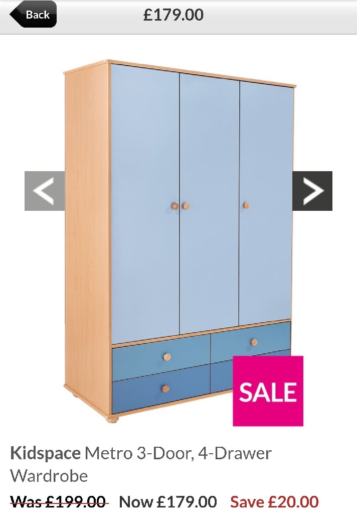 3 door/4 drawer wardrobe and chest of 6 drawers