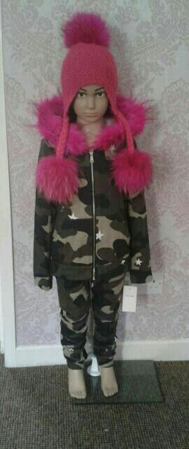 Age 14 camouflage fur hooded tracksuit