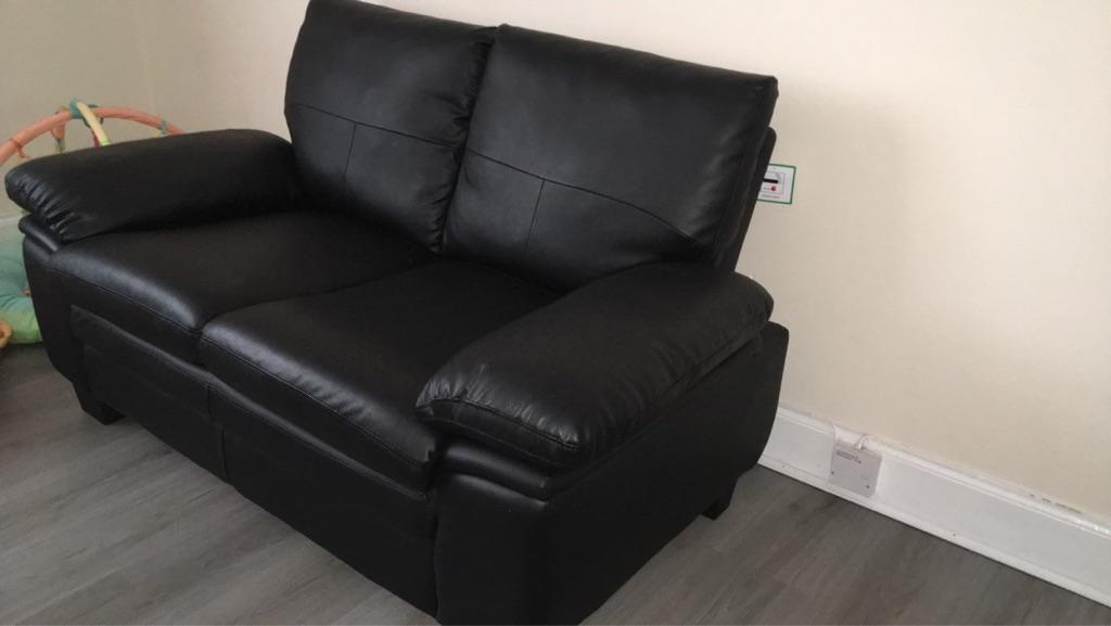 2 seater black Texas leather sofa