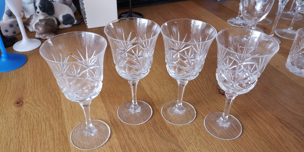 4 Crystal cut White Wine glasses
