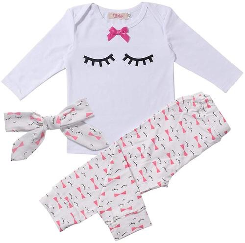Toddler infant baby fashion lovely long sleeve tops + pants + headband outfit
