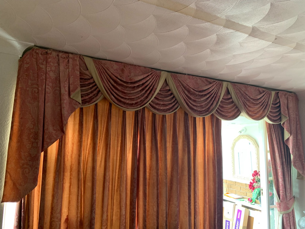 Hand made swags and tails curtains