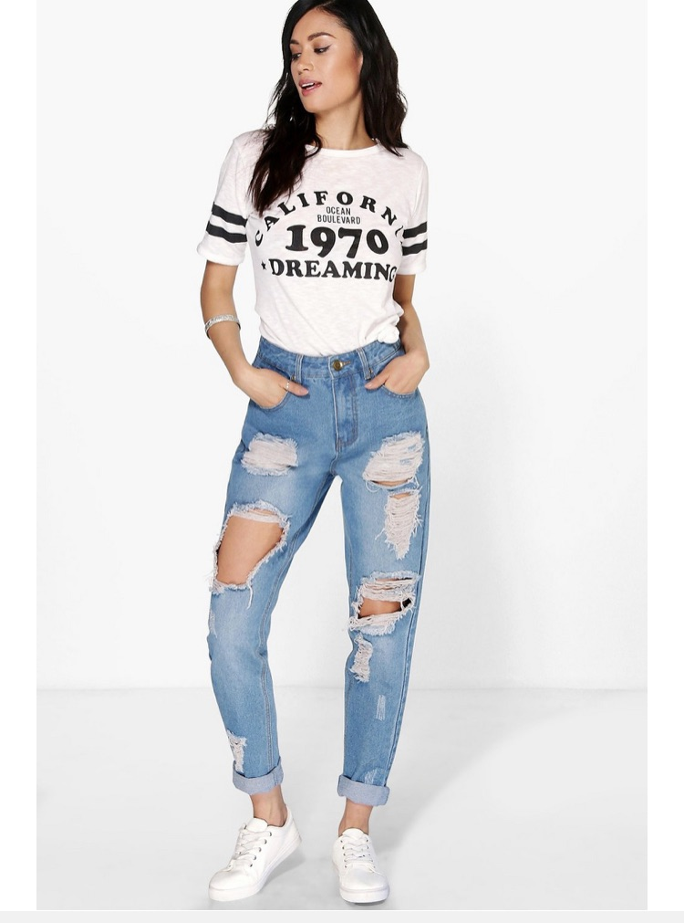 Denim ripped mom jeans size 14