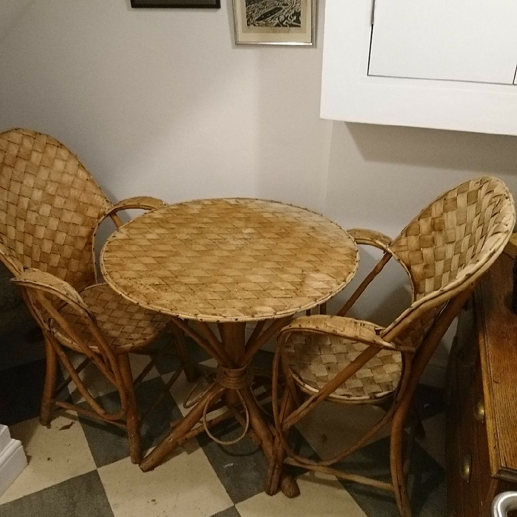 French artisan plaited bark table and 2 chairs bought Conran early 90s