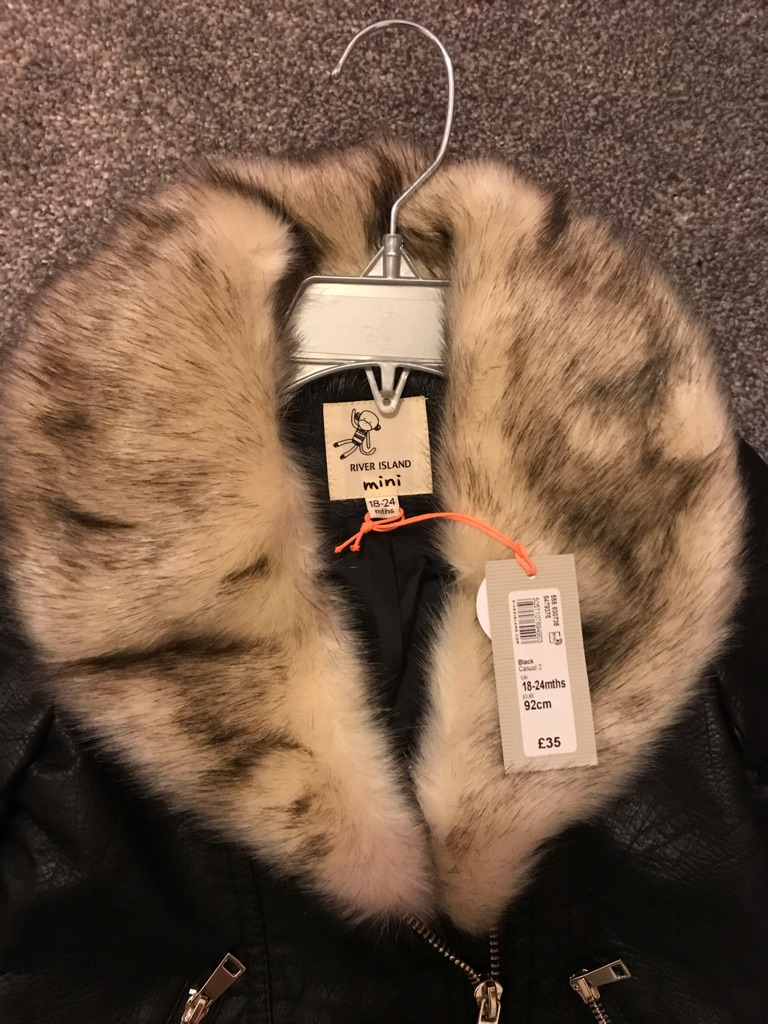 River island jacket with fur collar 18/24 months