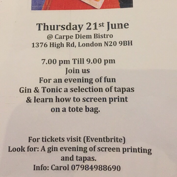 Art and food night at carpe diem 21 st June 7 pm