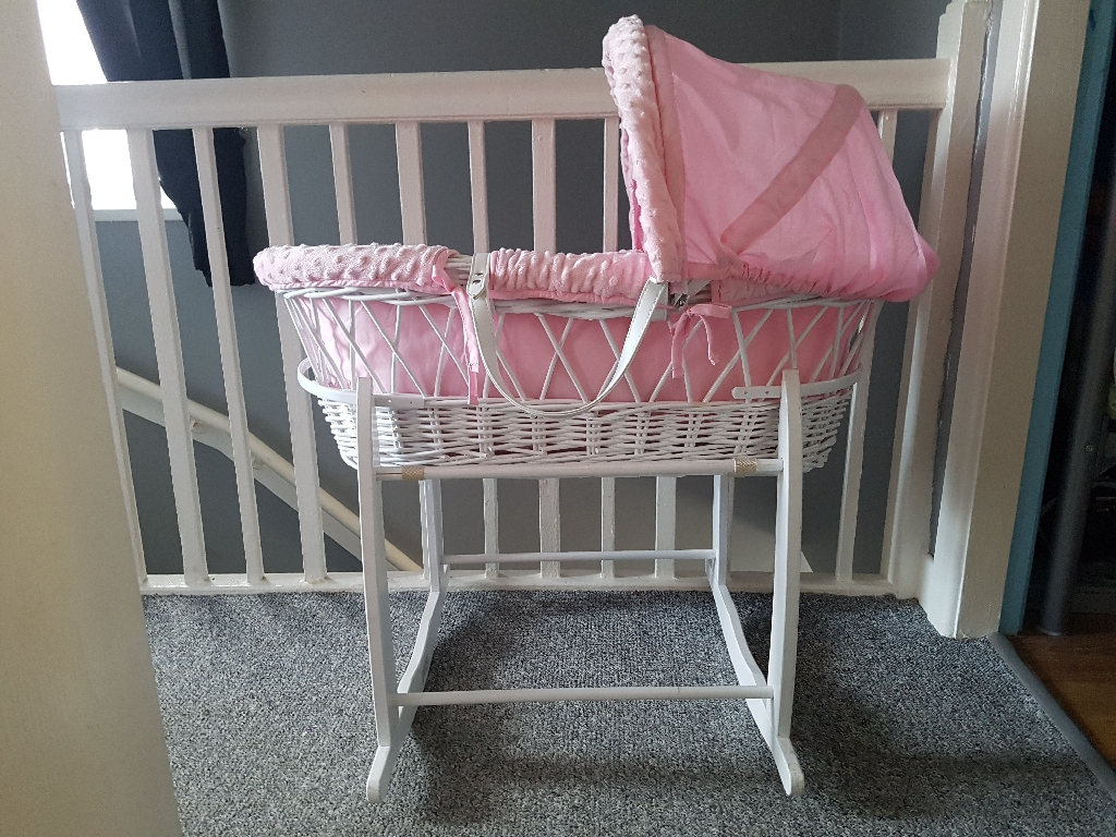 Pink white wicker Moses basket and rocking stand