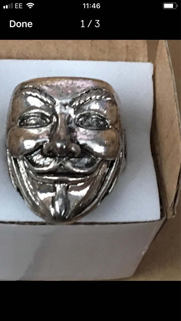 Silver plated face ring