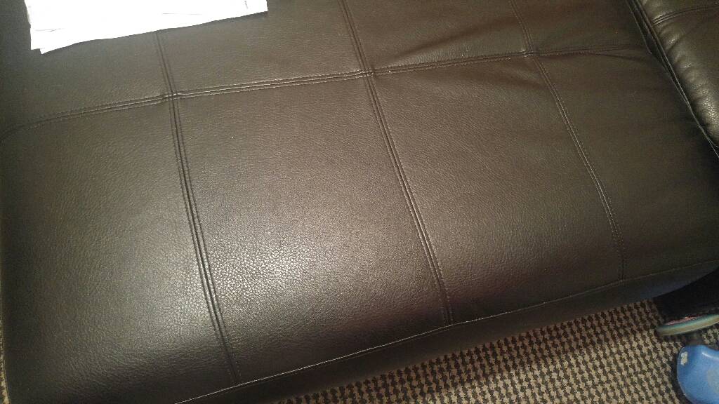 Black leather sofa L corner sofa