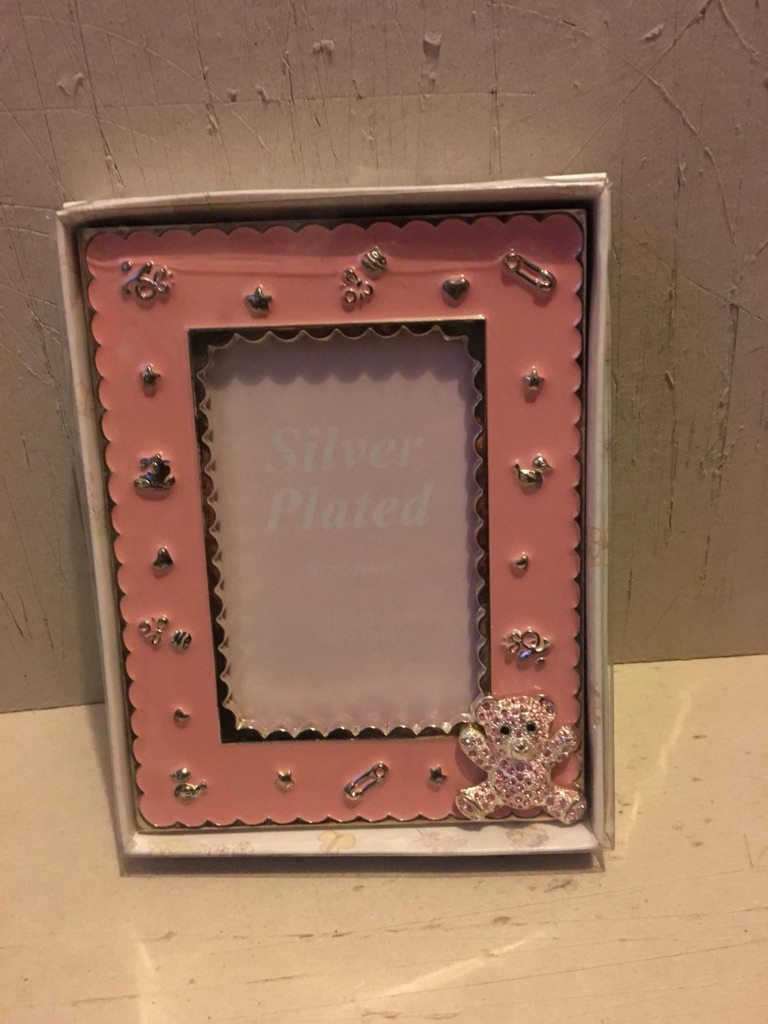 Silver plated baby girls pink photo frame