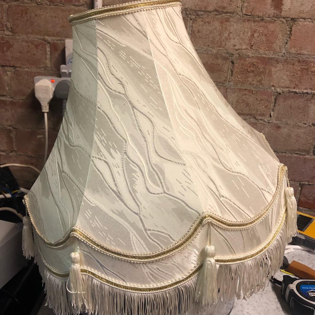Vintage cream fringed lampshade