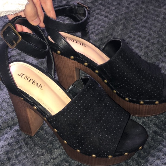 Black suede wedged heels