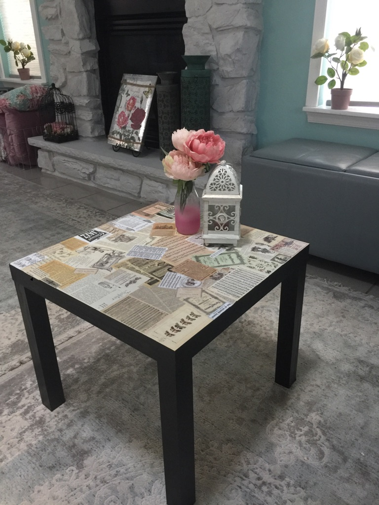 Decoupaged table and a matching shelf