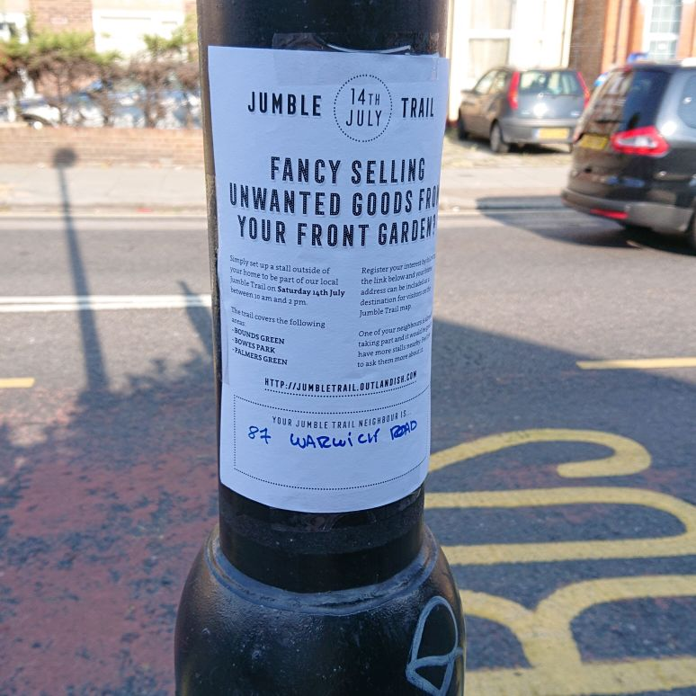 Jumble trail in bounds green on Saturday 14th July, 10-2pm