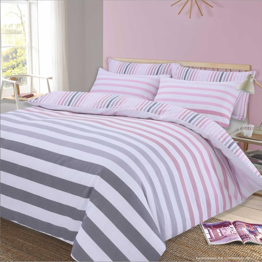 Dreamscene Premium Fade Stripe Duvet Set - Pink or Grey