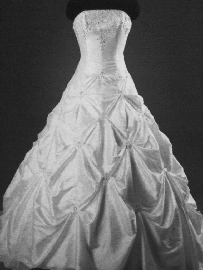 WHITE SATIN WEDDING DRESS..