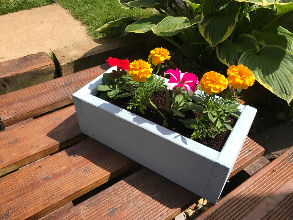 Nautical handmade, hand finished, filled wooden planters