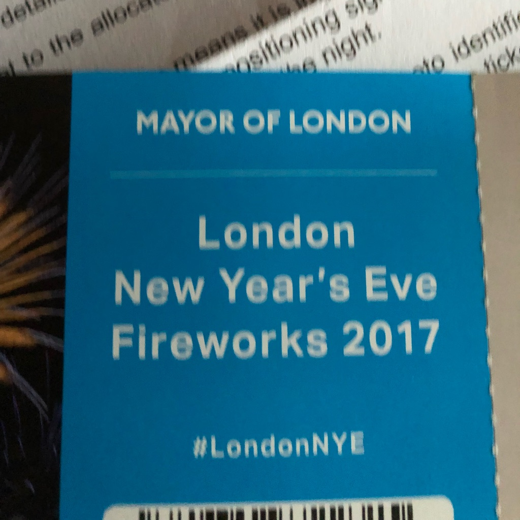 London New Year's Eve ticket blue zone