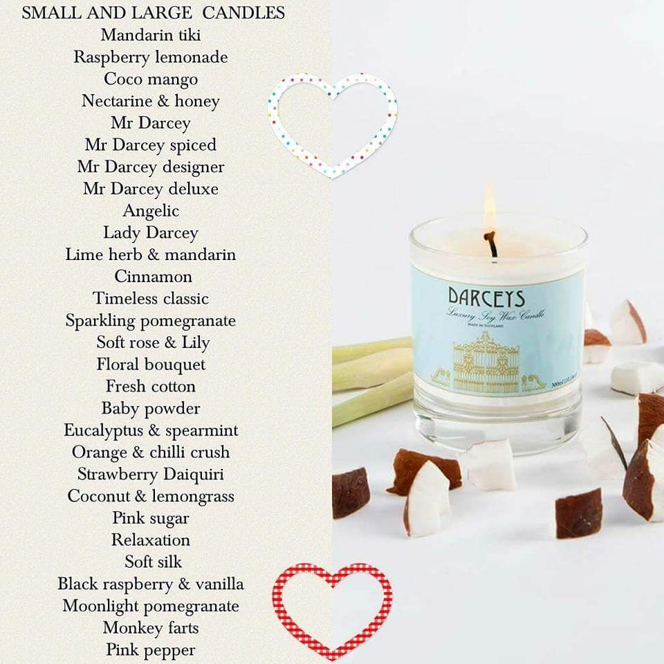 Darcey's candles, wax melts, rooms sprays and bags of beads