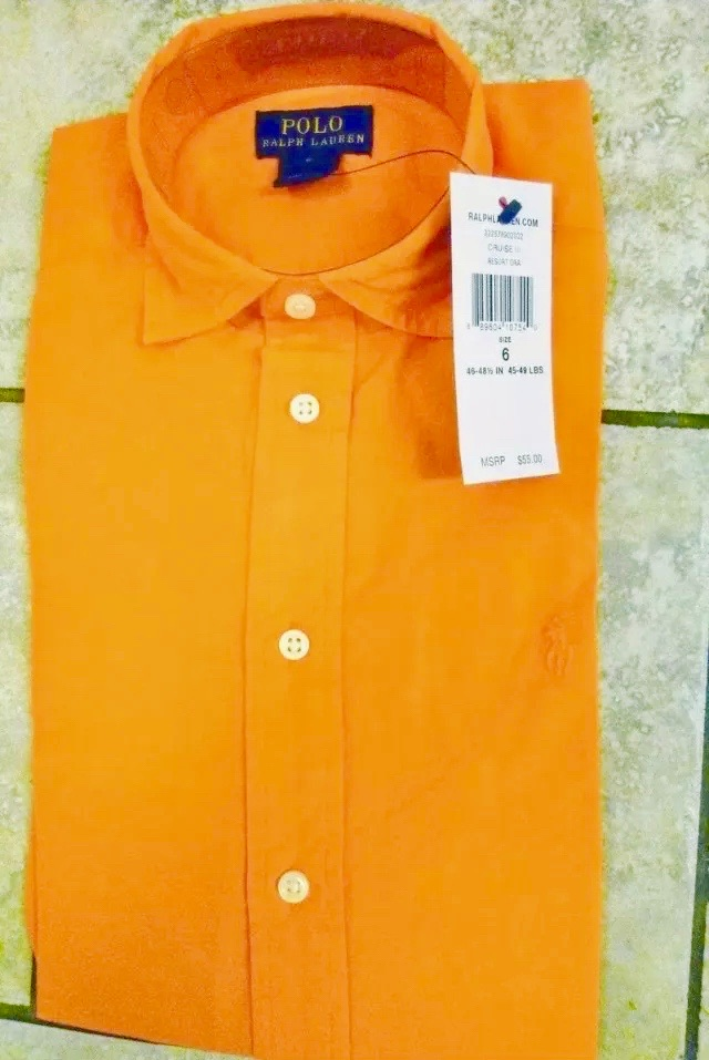 RALPH LAUREN Lovely Orange Cotton Blend Long Sleeve Shirt Size 5 NWT $55