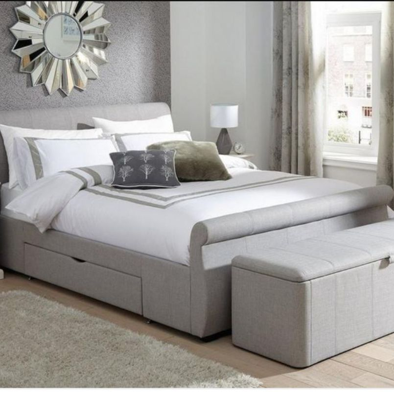 Grey fabric double sleigh bed