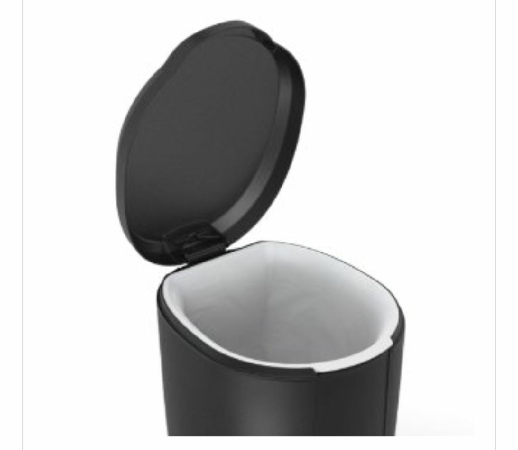 Simplehuman mini round step garbage can. Inner removable bin. Plastic. Color Black or White. 1.6/ gallon. BRAND NEW. FIRM
