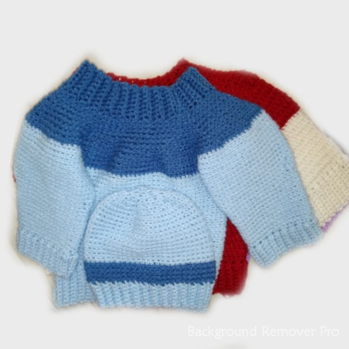 Handknitted baby boy sweaters 0-3 months