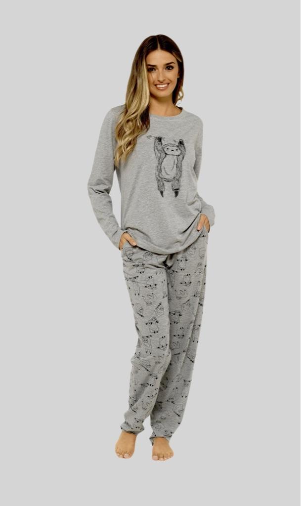 Lazy Sloth Grey Cotton Pyjama Set