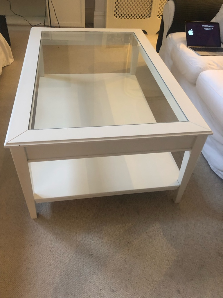 IKEA Liatorp white and glass coffee table