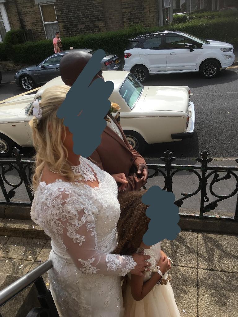 Wedding dress and four bridesmaid dresses