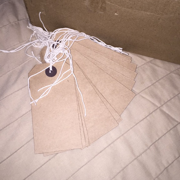 Strung tags (box of over 900)