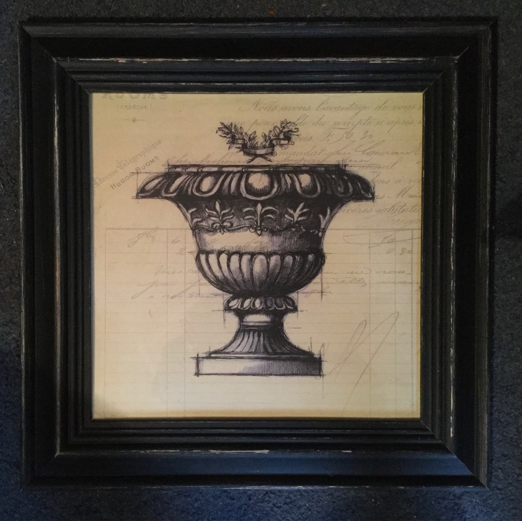 Framed drawing of a stone urn