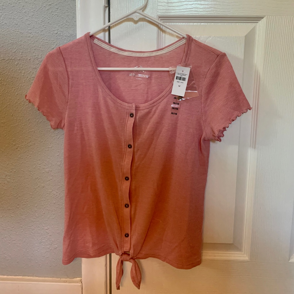 Brand New With Tags Tie Hem Button Up Top from Justice