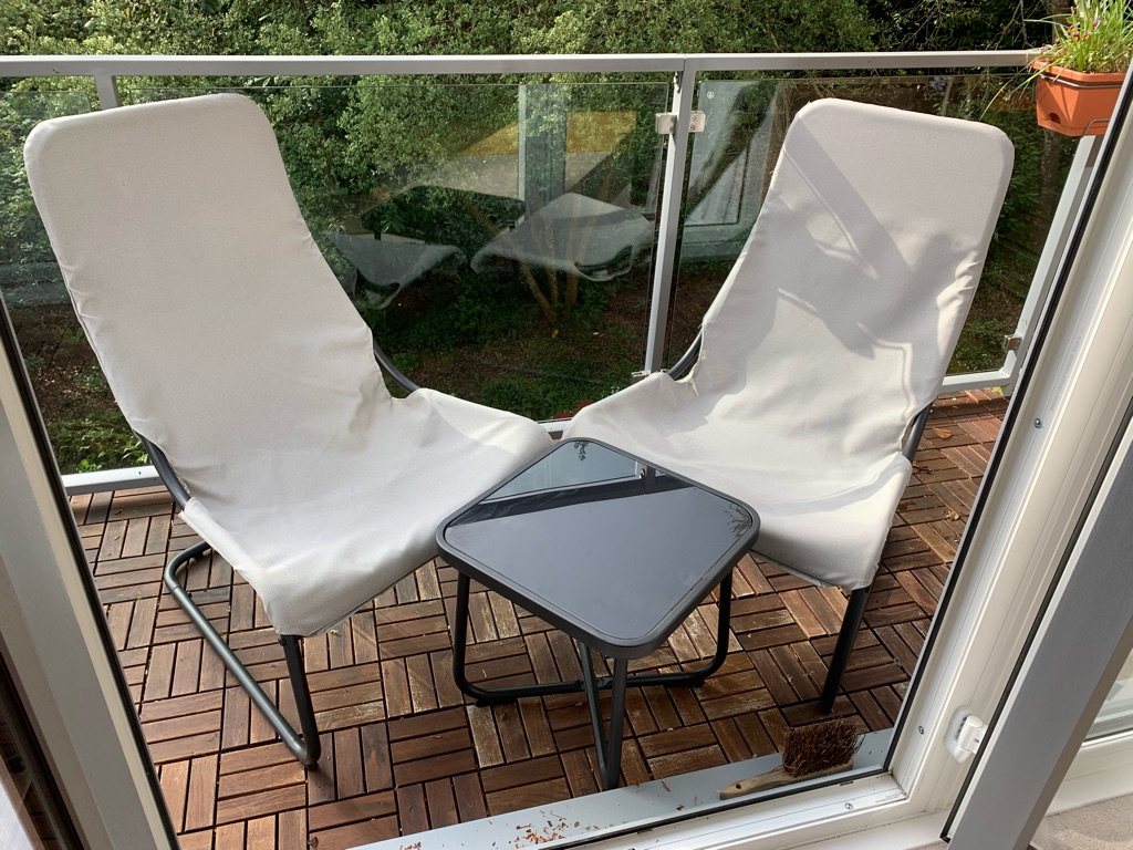 Stackable Garden Chairs x2 with table