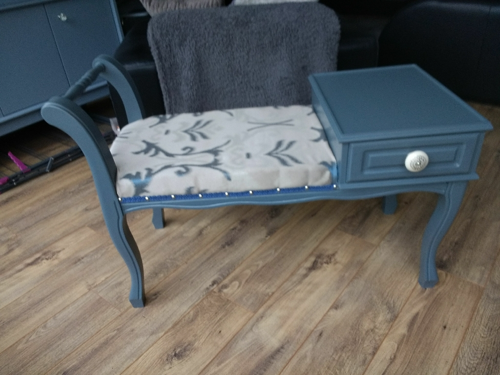 Up cycled bench seat table with drawer