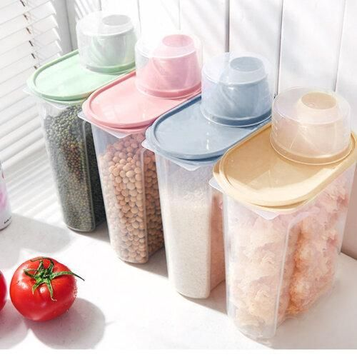 4pcs Airtight Dry Food Container Durable Cereal Storage Tank