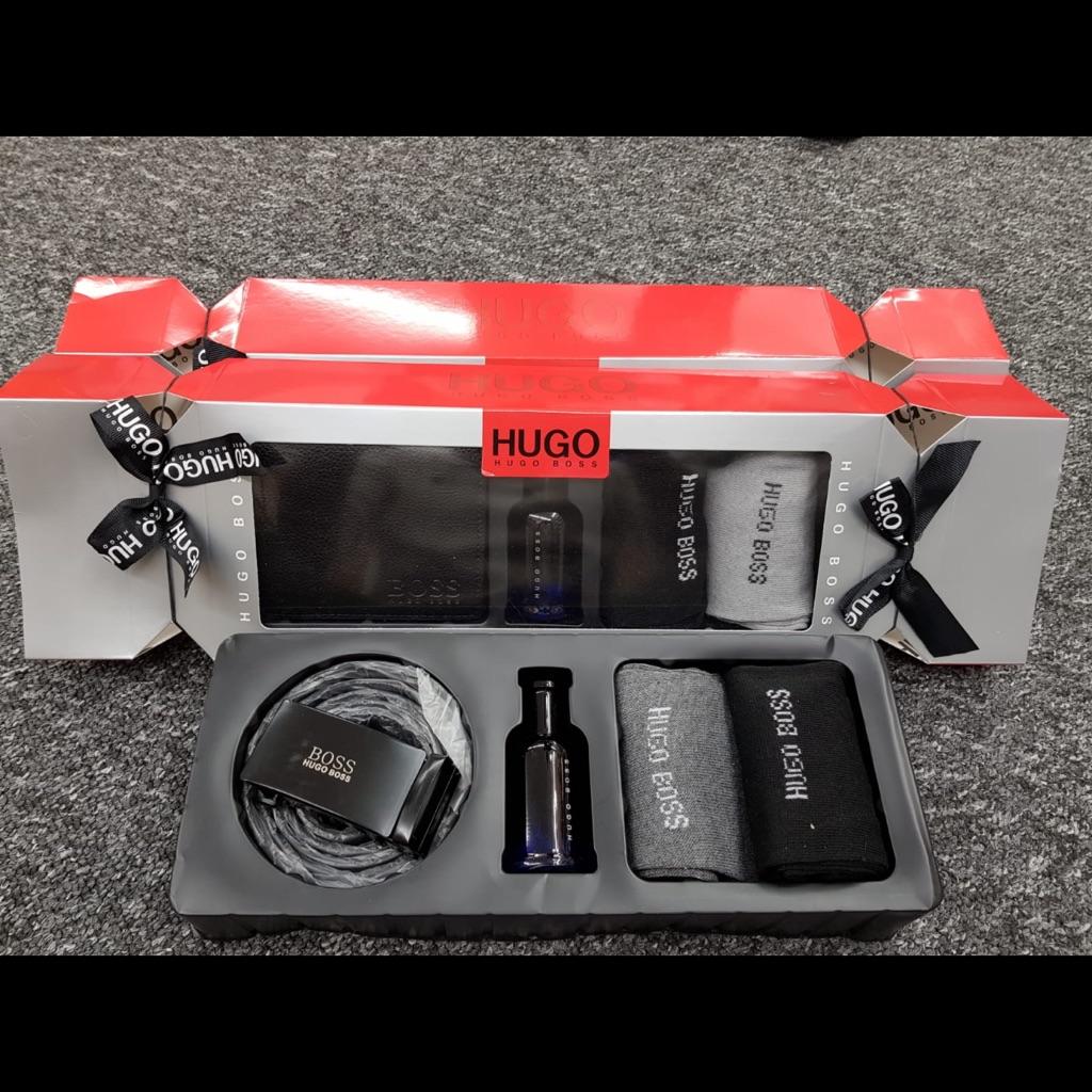 Men's Hugo boss set, box in the shape of a cracker,