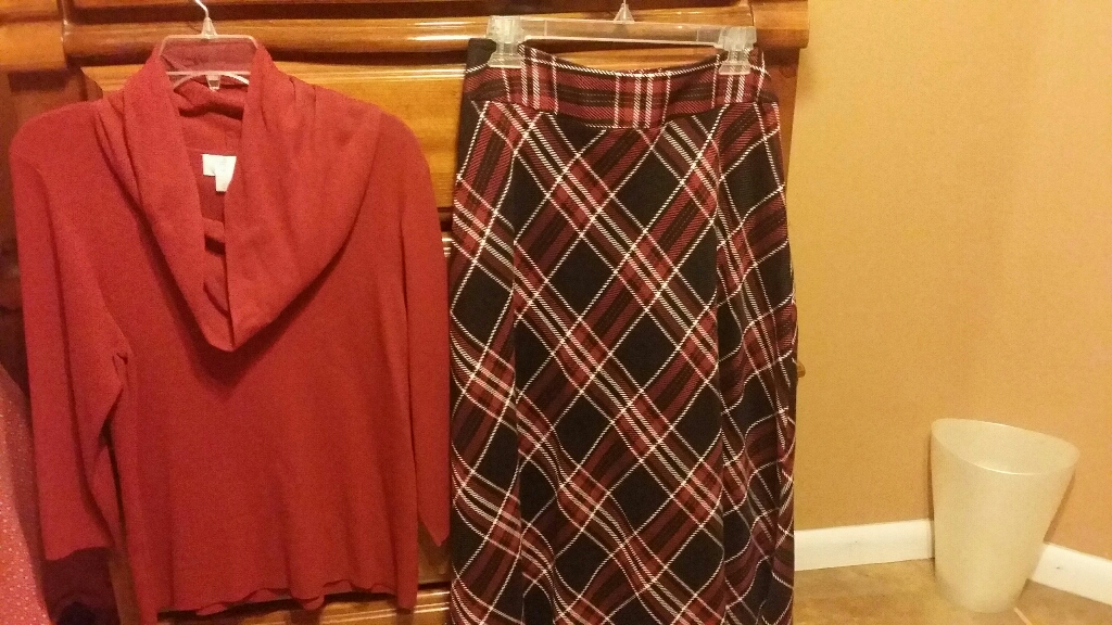 Loft red top, size L,  new skirt size 12