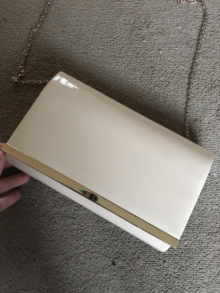 Cream and gold shoulder bag