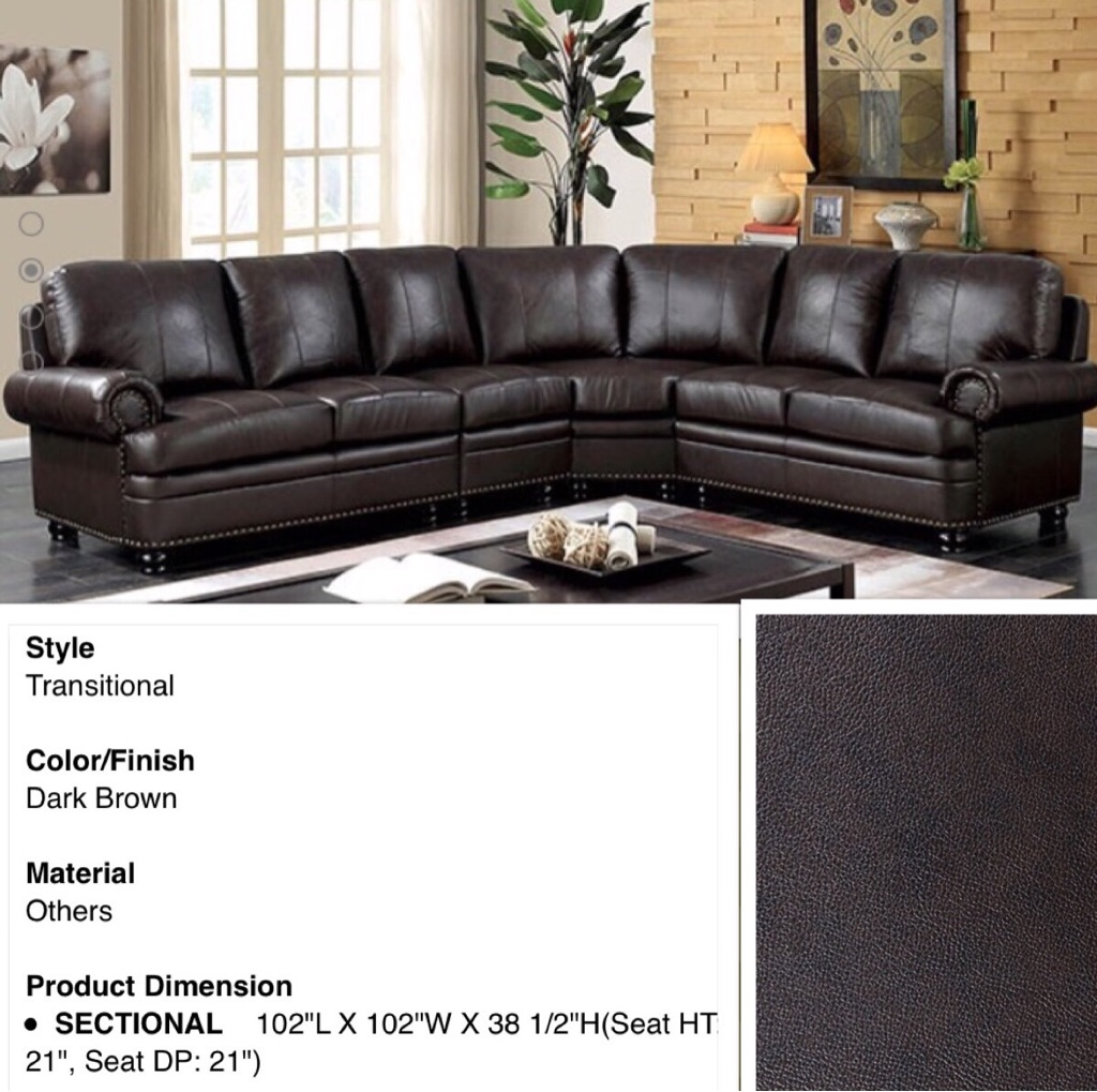 Top Grain Leather Sectional