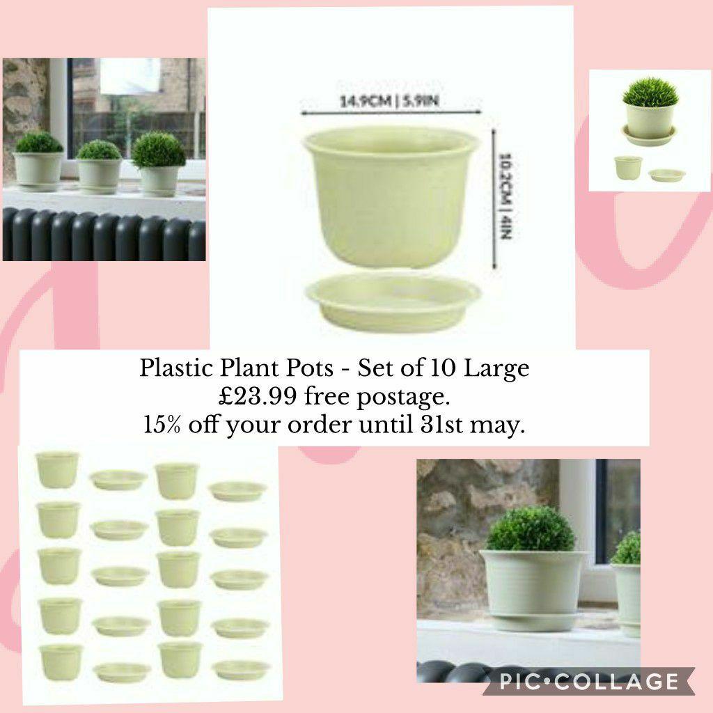 Plastic Plant Pots - Set of 10 Large £23.99